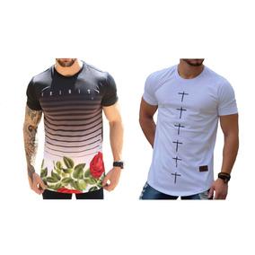 b512b4b7f Kit C 2 Uni Camiseta Masculina Floral Camisa Cruz Longline