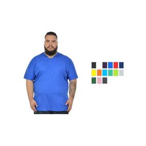 8a151c3aa Camiseta Masculina Lisa Plus Size Gola V - Camisetas e Blusas no ...