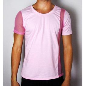 5c82df8d4 Camisetas Masculinas Malha Rosa Com Detalhe Transparente