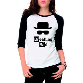 a0310e7ac Camiseta Raglan 3 4 Breaking Bad Heisenberg Feminina Camisa