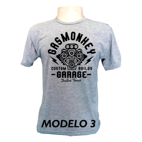 954d3f7b2 Camiseta Hot Rod Garage Custom Builds Estampa Preta