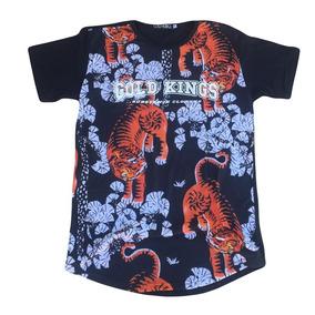 86a6b2bc8040d Camiseta Gold Kings Masculinas Longline Tigre R  74