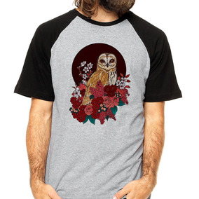 7f3632471 Camiseta Coruja Skull Caveira Owl Camisa Floral Raglan