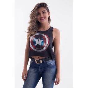 f7c63b78a Camiseta Feminino Capitão América no Mercado Livre Brasil