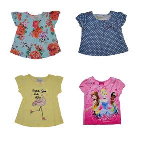 e8154b3dfd57c Kit 4 Blusas Camisetas Infantil Menina Bebe Feminino Verão 1
