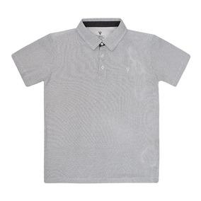 82457745a2 Camiseta Polo Masculino Teen Meia Malha Poá Preto