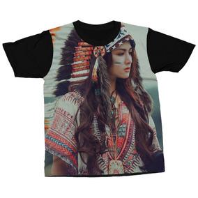 056ece2d30f68 Camiseta Cultura Indígena Cocar De Penas Blusa Estampada