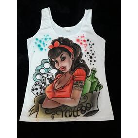 9c0cbeb769 Camiseta Tattoo Regata Feita A Mão Em Aerografia
