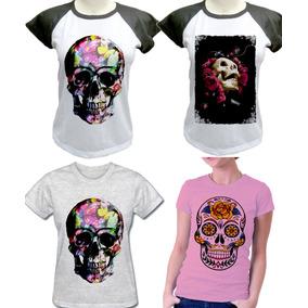 e868e532c7f88 Camiseta Camisa Com 4 Skull Caveira Mexicana Feminina. R  120
