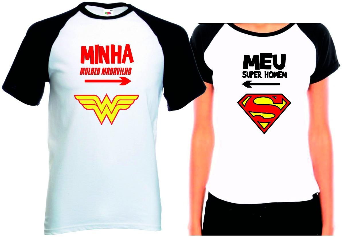 8a3bcd7f9 Camisetas Casal Namorados Super Homem E Mulher Maravilha Kit - R  68 ...