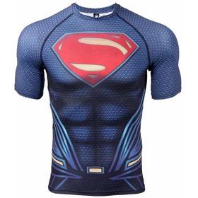 Camisetas Compresion Lycra Marvel Iron Man, Superman, Flash