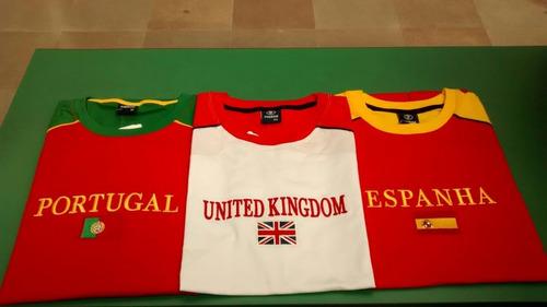 camisetas de portugal, espanha, reino unido.bordadas