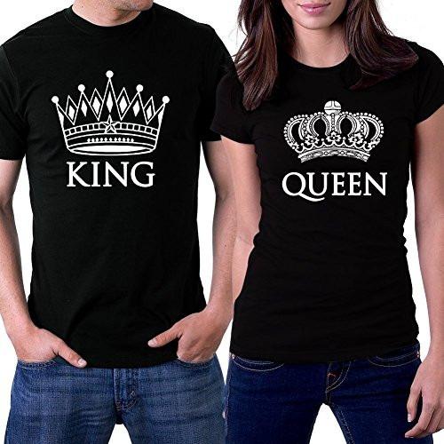camisetas estampado personalizado x2 unds novios king queen