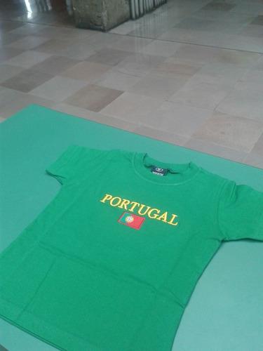 camisetas infantil portugal, alemanha.bordadas