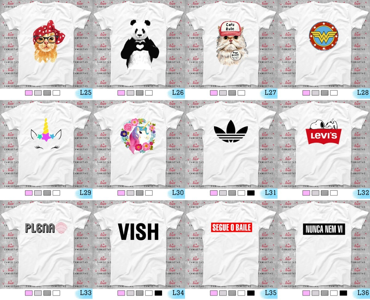 Camisetas Kit Com 4 Estampas Á Sua Escolha Frete Grátis - R  130 fc29d0d9dc67e