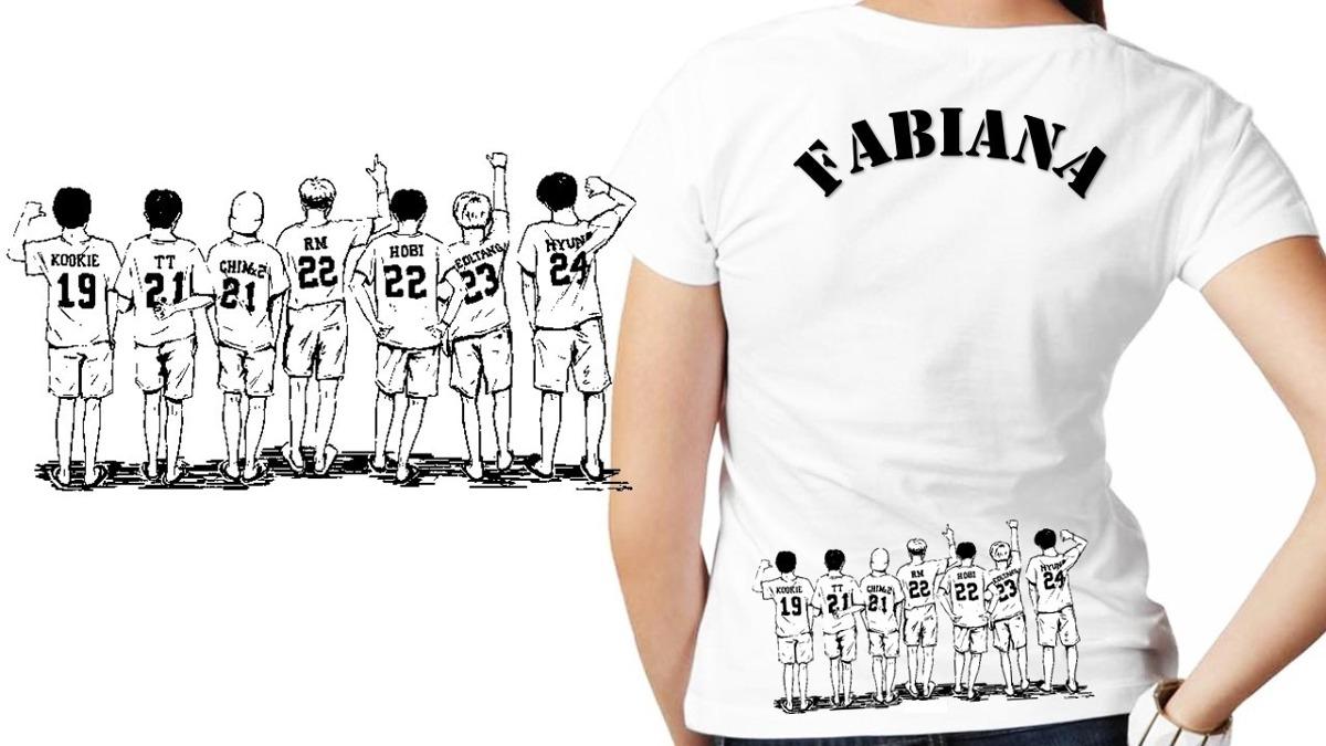 474ab55dbd9b6 camisetas kpop bts personalizada com seu nome frente e verso. Carregando  zoom.