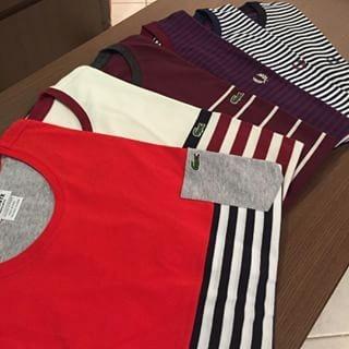 eeed804f4dc Camisetas Lacoste Listradas Lançamentos 2016 - R  510