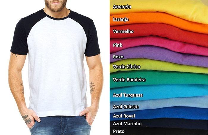 718775a7df Kit 15 Camisetas Raglan Manga Curta Colorida P  Sublimação - R  293 ...