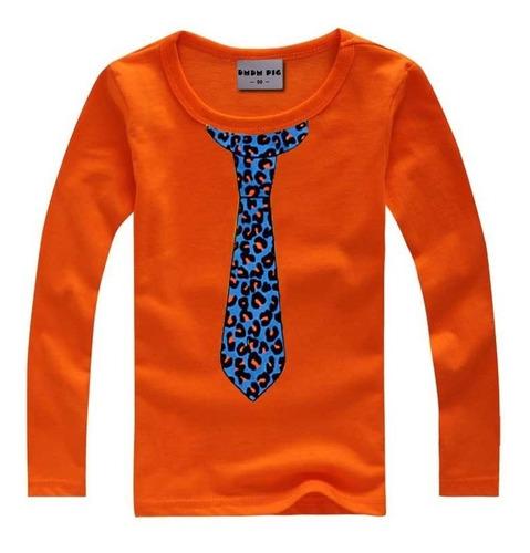 camisetas manga larga para niños corbata color rojo