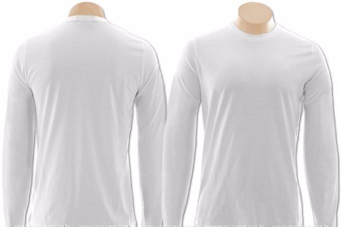 6729d90df7 Camisetas Manga Longa Com Punho 100% Poliéster P  Sublimação - R  12 ...