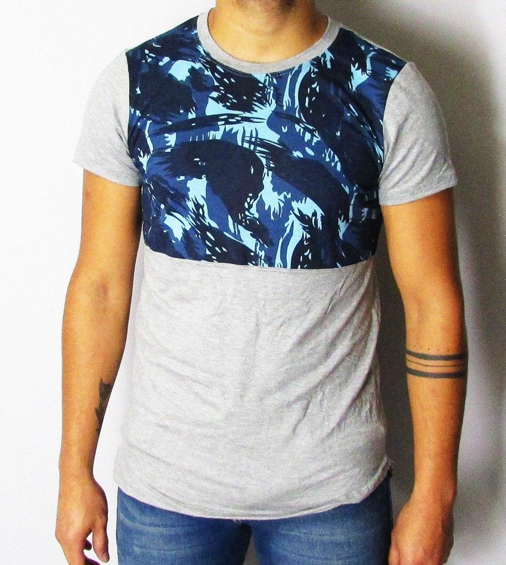 0653dd3b24 camisetas masculinas long line mescla com detalhe estampado. Carregando  zoom.