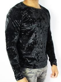 b85f037a44b382 Camisetas Masculinas Manga Longa Veludo Molhado Preto