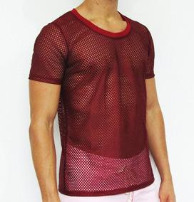 913d4084069f5d Camisetas Masculinas Tela Transparente Furada Manga Curta