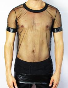 31bff5b632b509 Camisetas Masculinas Transparente De Tule Illusion E Cirrê