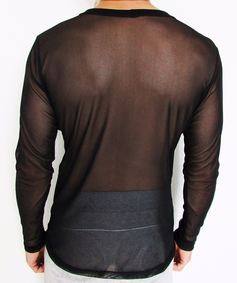 224134630961a7 Camisetas Masculinas Transparente Malha De Tule Manga Longa
