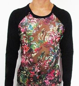 8a26e4355d6748 Camisetas Masculinas Transparente Tule Bordado Manga Raglan