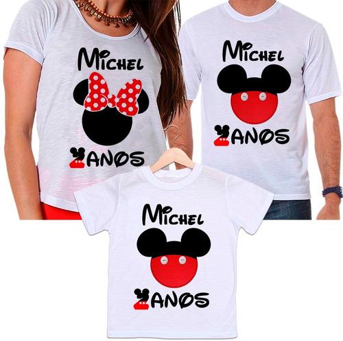 camisetas pai, mãe e filho aniversário mickey