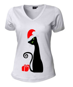 Navidad Para Gato Dama Mujer Blusa Camisetas Jc1lFK