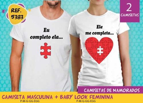 camisetas para namorados frases estampa divertida kit c/ 2