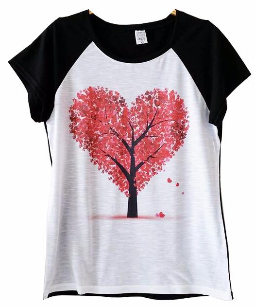 bd9dbe18b0479 Camisetas Personalizadas Femininas Raglan Árvore Coração - R  39