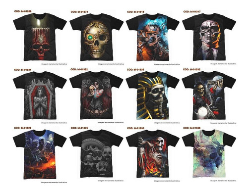 camisetas rock,metal,gótico, realista,3d, vários modelos #4