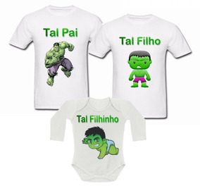 bb0b1c404d5d74 Camisetas Tal Pai Tal Filho Hulk Kit Pai E 2 Filhos 3 Peças