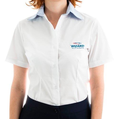 691928e52 Camisete Camisa Feminina Gabardine Elegance Uniforme - R  33