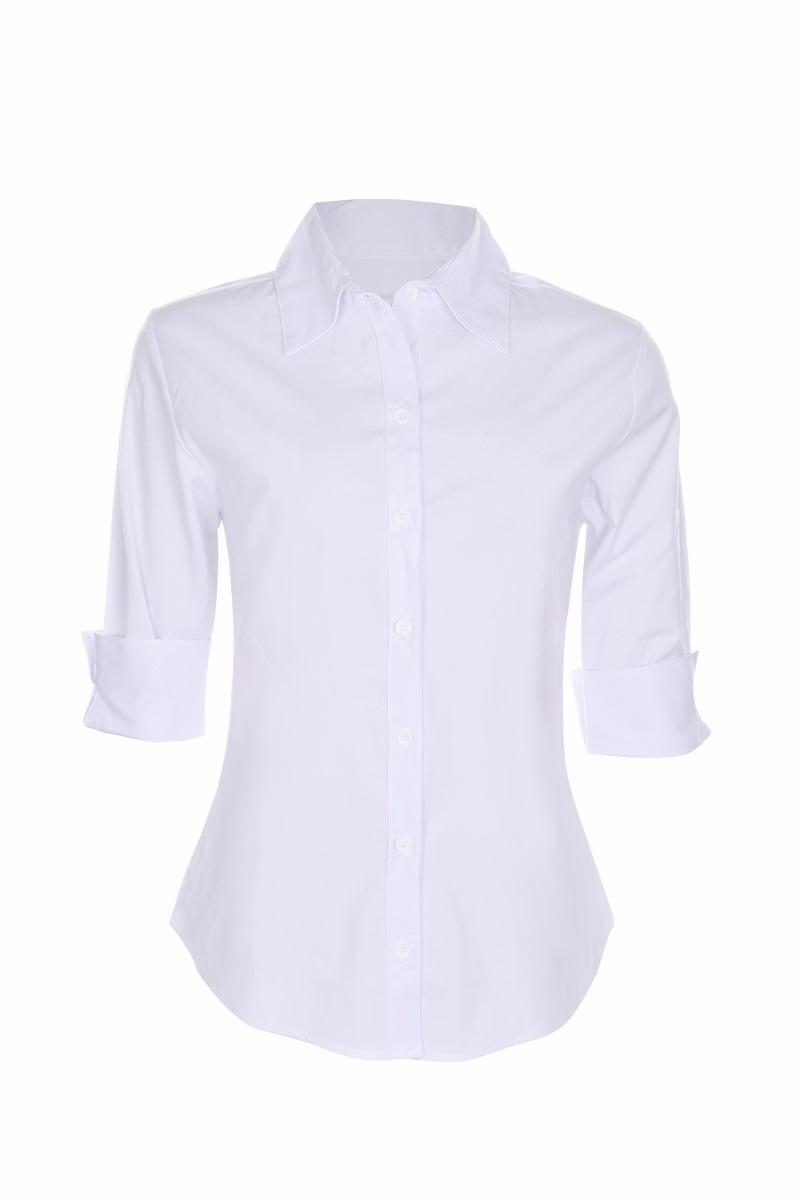 de56d05fd6 camisete camisa feminino social branco manga 3 4 promoção. Carregando zoom.