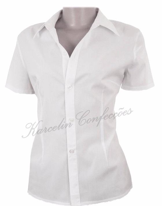 7e90b838a0 Camisete Camisa Social Feminina Manga Curta Preto Ou Branca - R  49 ...