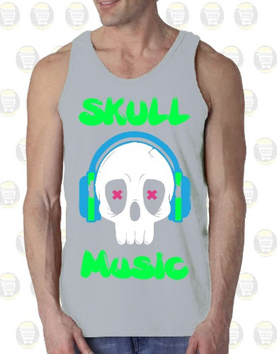 camisilla hombre esqueleto 100% algodon diseño: skull music