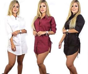 e5f56c9195 Kit 2 Camisão Blusa Feminina Instagram Ilhós Chamise Blusão