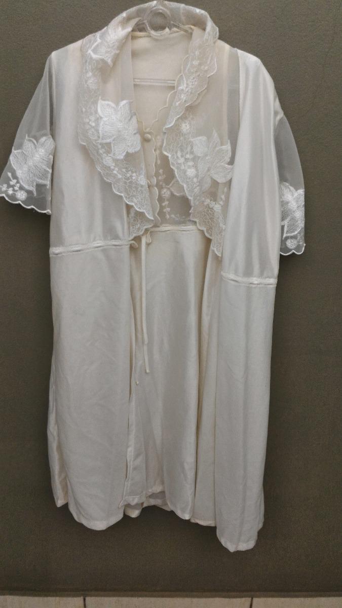 e27bd7612 camisola curta c  robe penhoar branco cetim seda renda. Carregando zoom.