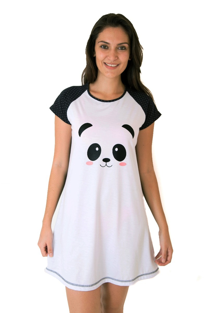 7cd686606 Camisola De Panda Feminina Adulto Pijama De Panda Camisetão - R  56 ...