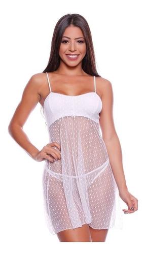 camisola em renda poá transparente sensual noiva lua de mel