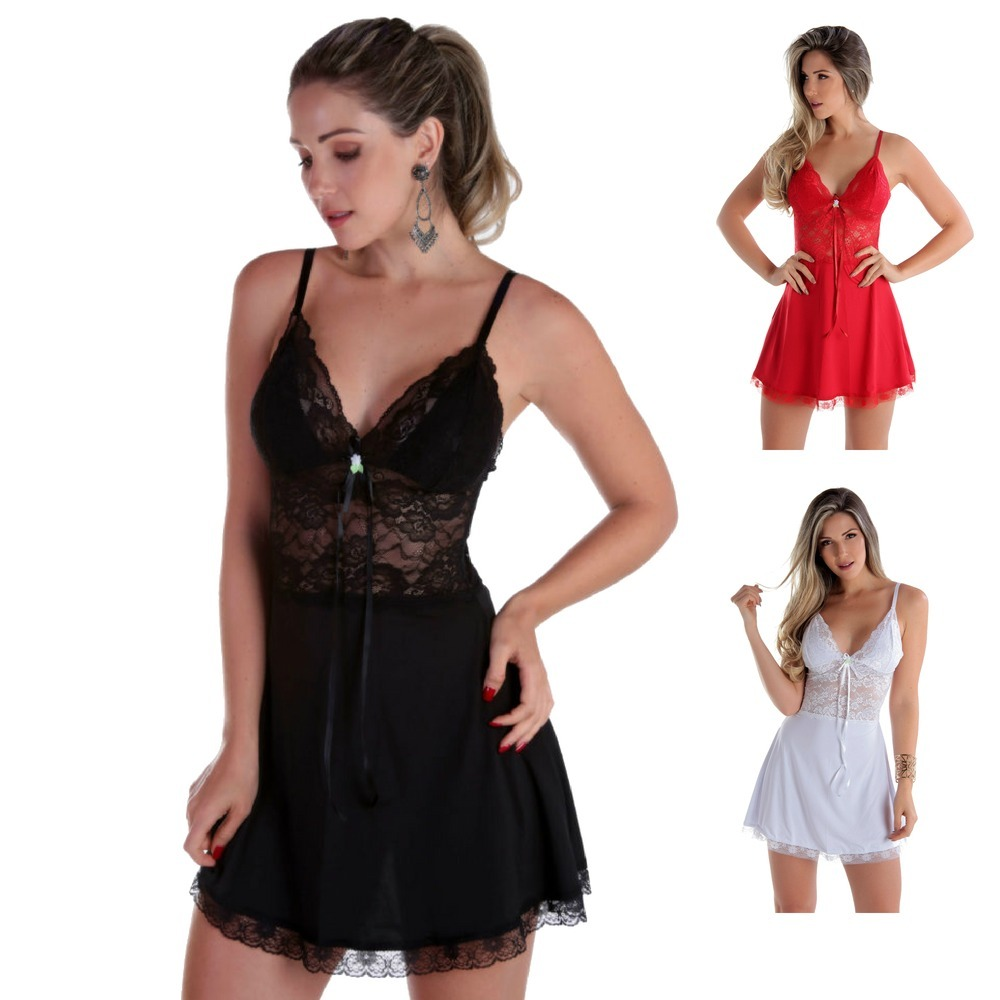 camisola feminina de luxo lingerie noiva lua de mel pijama. Carregando zoom. f2681d21285