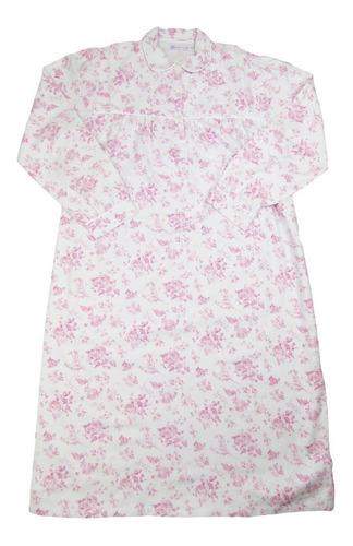 camisola feminina flanela longa florida