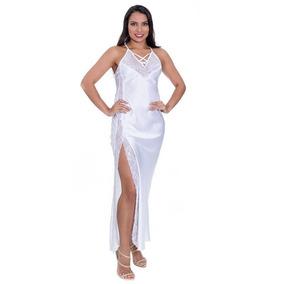 449573ab56397d Camisola Longa Branca Em Cetim De Luxo Com Calcinha