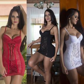 7e6ff530d Conjunto Camisola Com Bojo E Calcinha Sexy - Moda Íntima e Lingerie ...