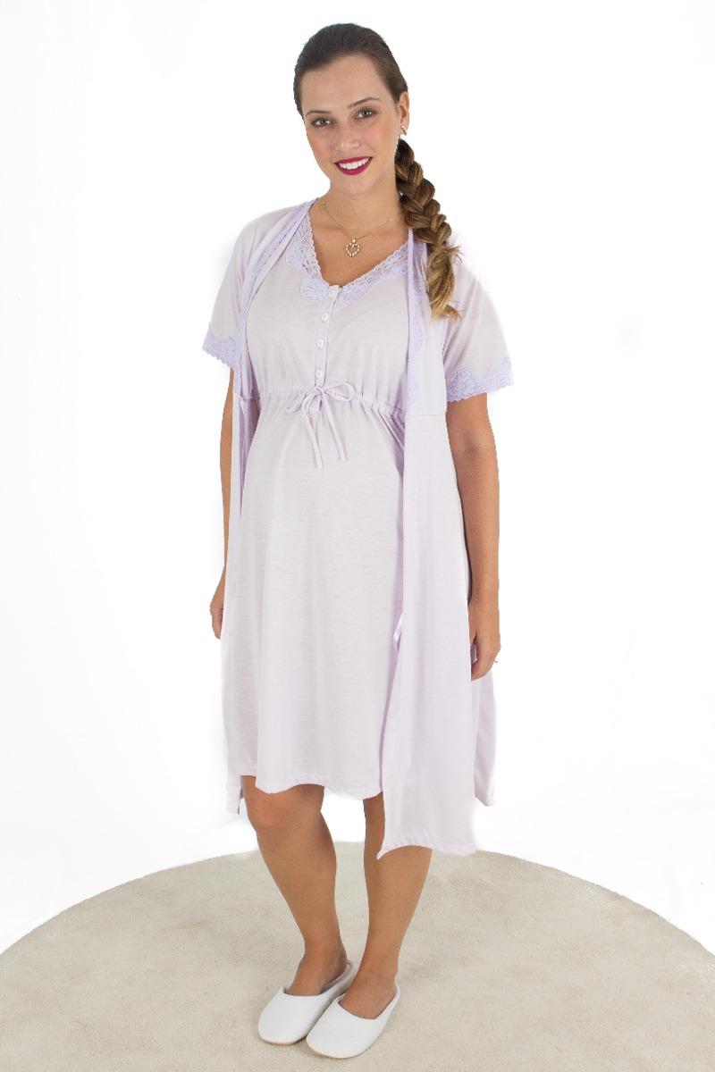 1e54e9989 camisola maternidade com robe em malha. Carregando zoom.
