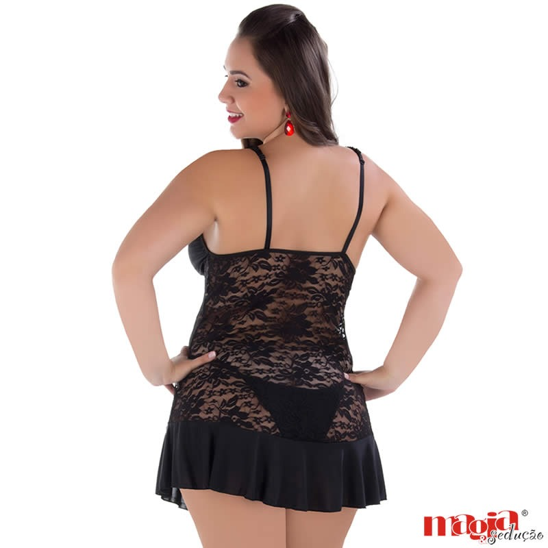 camisola para gordinha lingerie preta renda debora. Carregando zoom. 01bce1efe4b